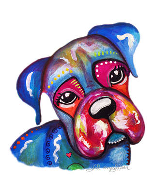 Jinxy The Boxer Print by Jill English
