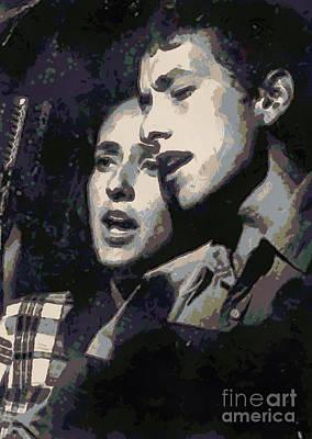 Bob Dylan Digital Art - Joan Baez And Bob Dylan by Paulette B Wright
