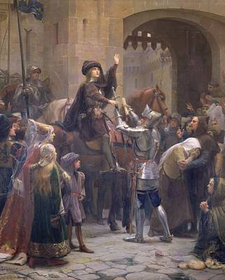 Joan Of Arc 1412-31 Leaving Vaucouleurs, 23rd February 1429 Oil On Canvas Print by Jean-Jacques Scherrer