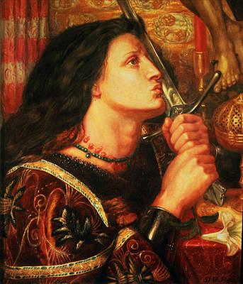 Joan Of Arc Kissing The Sword Print by Dante Gabriel Charles Rossetti
