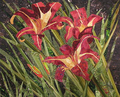 Art Quilts Tapestries - Textiles Tapestry - Textile - Joan's Daylilies by Lynda K Boardman