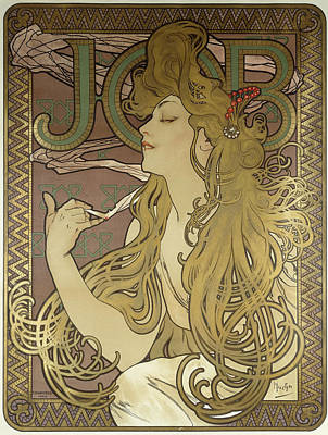 1890s Photograph - Job, 1896 Colour Lithograph On Poster Paper, Framed by Alphonse Marie Mucha
