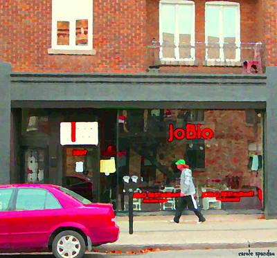 Joblo Restaurant Steakhouse Rue Wellington Verdun Montreal Cafe City Scenes Carole Spandau Print by Carole Spandau