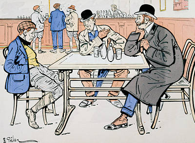 Conversing Painting - Jockey And Trainers In The Bar by Thelem