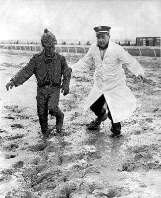 Jockey Rescued From The Mud Print by Underwood Archives