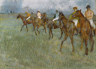 Race Horse Drawing - Jockeys In The Rain, C.1886 by Edgar Degas