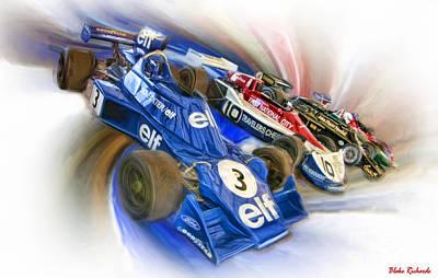 Andretti Photograph - Jody Scheckter Elf Ronne Peterson Penske  Mario Andretti Lotus by Blake Richards
