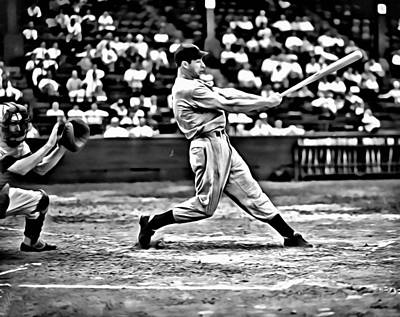 Joe Dimaggio Swing Print by Florian Rodarte