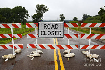 Joe Fox Fine Art - Road Closed Due To Floods In Iowa Usa Print by Joe Fox