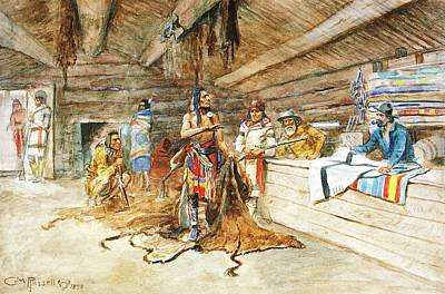 Indian Warrior Digital Art - Joe Kipps Trading Camp by Charles Russell