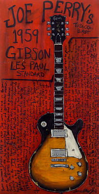 Aerosmith Painting - Joe Perry Gibson Les Paul Guitar Art. Aerosmith.  by Karl Haglund