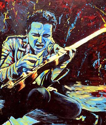 Joe Strummer With Fender Strat Original by Kat Richey