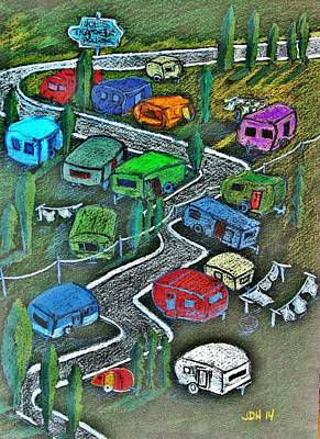 Colored Pencil Painting - Joes Happy Trailer Park by Joseph Hawkins