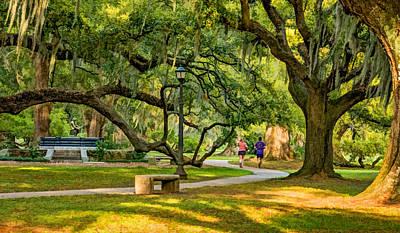 Jogging Digital Art - Jogging In City Park by Steve Harrington