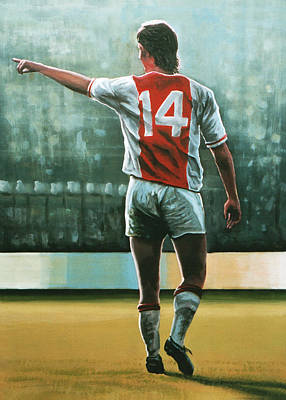 Johan Cruijff Nr 14 Painting Print by Paul Meijering