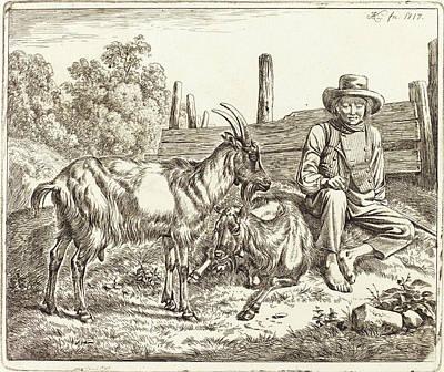 Shepherd Boy Drawing - Johann Adam Klein German, 1792 - 1875, Shepherd Boy by Quint Lox
