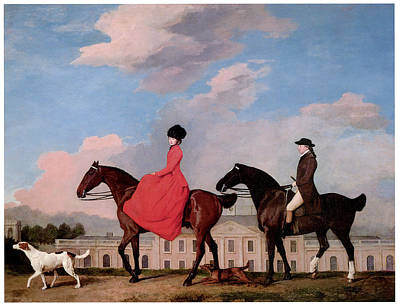 Women On Horses Painting - John And Sophia Musters Riding At Colwick Hall by George Stubbs
