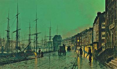 Buggy Painting - John Atkinson Grimshaw Shipping On The Clyde 1881 by Movie Poster Prints