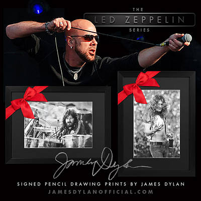 Robert Plant Drawing - John Bonham And Robert Plant by James Dylan