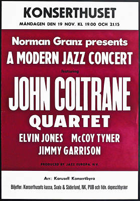 John Coltrane Quartet In Sweden Print by Digital Reproductions