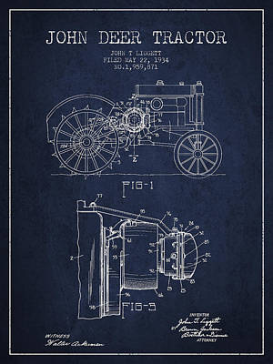 John Deer Tractor Patent Drawing From 1934 - Navy Blue Print by Aged Pixel