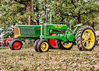 John Deere 1935 General Purpose Tractor With Oliver Row Crop 77 Print by Jon Woodhams