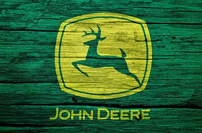 Mammals Mixed Media - John Deere Barn Door by Dan Sproul