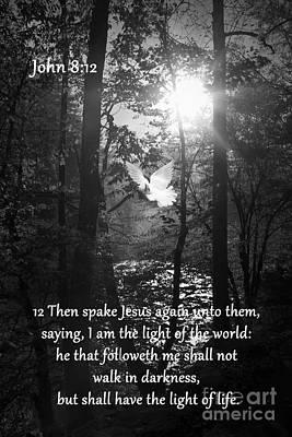 Bible Verse Photograph - John Eight Twelve by Lena Auxier