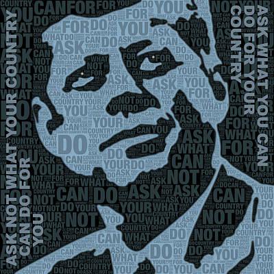 John F Kennedy And Quote Print by Tony Rubino