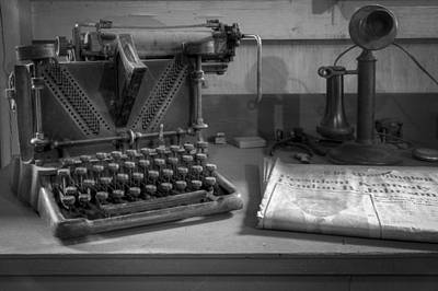 Typewriter Photograph - John F Kennedy by Debra and Dave Vanderlaan
