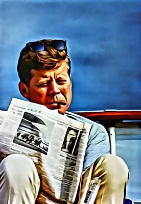 John Painting - John F Kennedy by Florian Rodarte