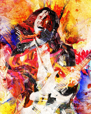 90s Painting - John Frusciante - Red Hot Chili Peppers Original Painting Print by Ryan Rock Artist