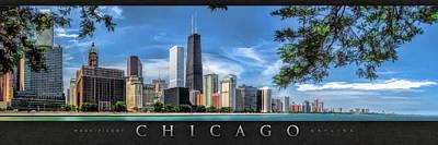 Hancock Painting - John Hancock Chicago Skyline Panorama Poster by Christopher Arndt