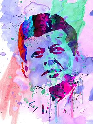 Civil Rights Painting - John Kennedy Watercolor by Naxart Studio