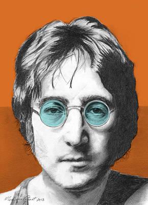 John Lennon Drawing - John Lennon - Individual Orange by Alexander Gilbert