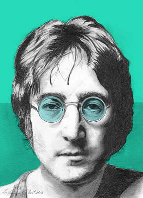 John Lennon Drawing - John Lennon - Individual Turquoise by Alexander Gilbert