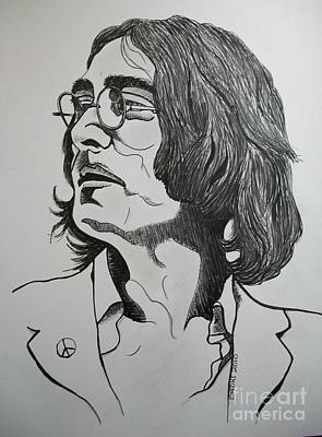 Artist Richard Brooks Drawing - John Lennon 2. by Richard Brooks