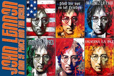 Fab Four Digital Art - John Lennon - A Man Of Peace And The World. A Collage by Vitaliy Shcherbak
