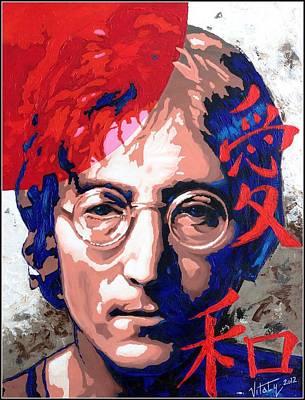 John Lennon - A Man Of Peace. The Number Three. Print by Vitaliy Shcherbak
