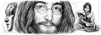 Most Popular Drawing - John Lennon Art Drawing Sketch Poster by Kim Wang