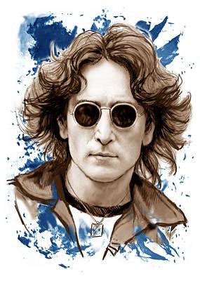 Charcoal Mixed Media - John Lennon Colour Drawing Art Poster by Kim Wang