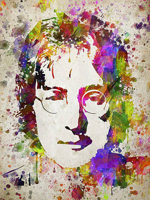 John Lennon In Color Print by Aged Pixel
