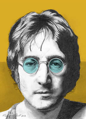 John Lennon Drawing - John Lennon - Individual Yellow by Alexander Gilbert
