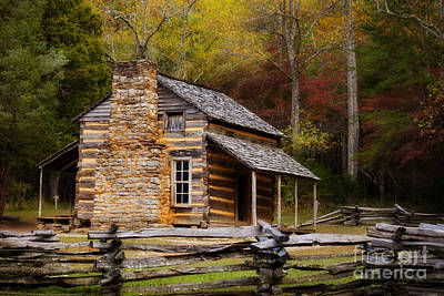 Cabin Window Photograph - John Oliver Cabin Cades Cove by Lena Auxier