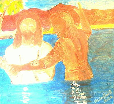 John The Baptist Baptizing Jesus In River Jordan By Immersion Print by Richard W Linford