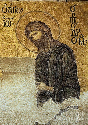John The Baptist-detail Of Deesis Mosaic  Hagia Sophia-judgement Day Print by Urft Valley Art