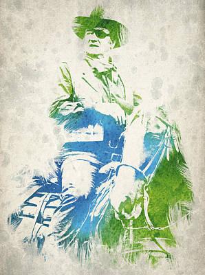John Wayne Drawing - John Wayne  by Aged Pixel