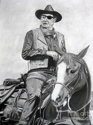 John Wayne Drawing - John Wayne by April Johnson