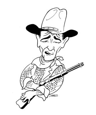 John Wayne Drawing - John Wayne Caricature by Stephen Daniels