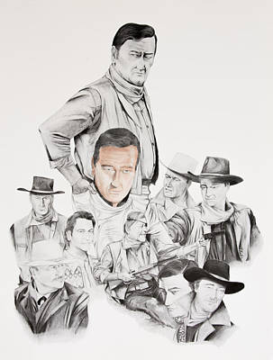 Solider Drawing - John Wayne Commemoration 1930 To 1976 by Joe Lisowski